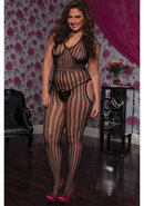 Halter Striped Bodystocking - Blk X